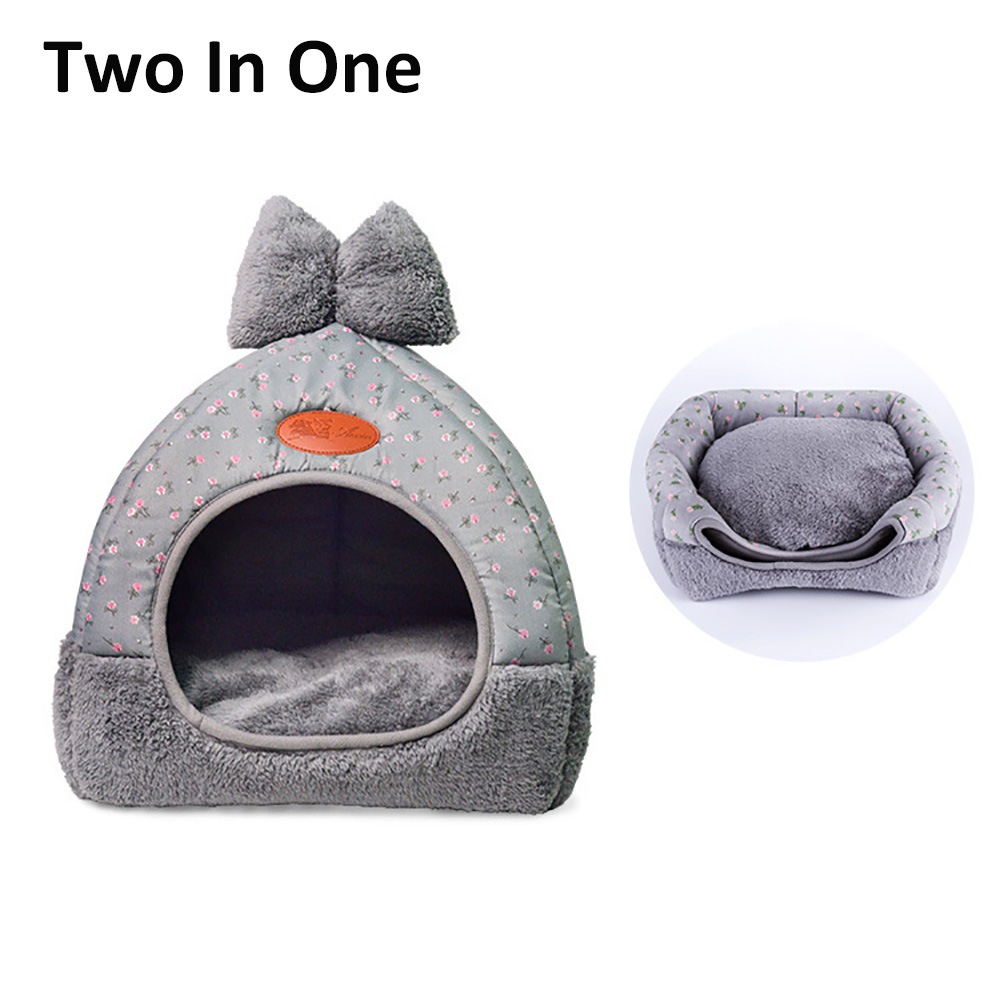 2 IN 1 Pet Dog Kennel Warm Puppy House For Small Dogs Cat Sleeping Sofa Soft Home Kitten Bed Nest Washable Dogs Mat Cushion