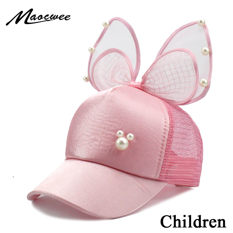 Big Bow Fashion Summer Kids Black White Pink Lace Floral ear Baseball Caps With Pearl Children Sun Hats Princess Mesh cap 2018