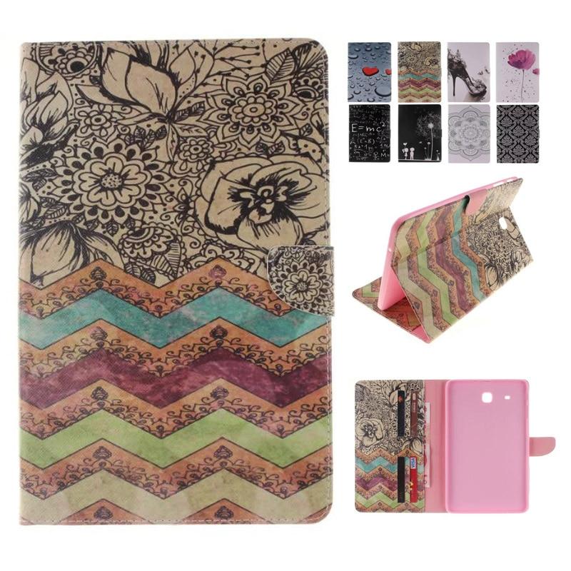 For Coque Samsung Galaxy Tab E 9.6 Case Wave Flower Flip Folio PU Leather Wallet Cover Case for Galaxy Tab E 9.6 T560 T561 аккумулятор craftmann для samsung s7230 wave 723 1250mah craftmann