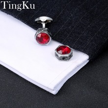 hot deal buy free shipping]mens jewelry shirt cufflinks red gift for men brand cuff buttons silver woman wedding cuff links high quality