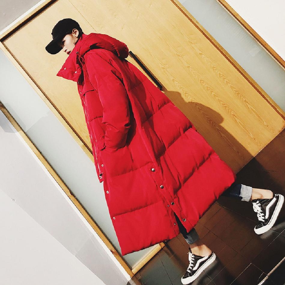 X-Long Bread Service Down Cotton Jacket Womens Winter Fashion Hooded Thicker   Parkas   Side Button Design Warm Oversize Coat L1719