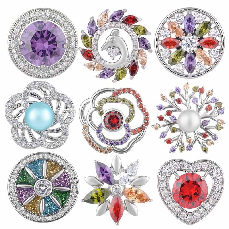 CZ Cubic Zirconia Snap ปุ่ม 18 มม.Charms Fit Ginger snaps เครื่องประดับ Vn-1977