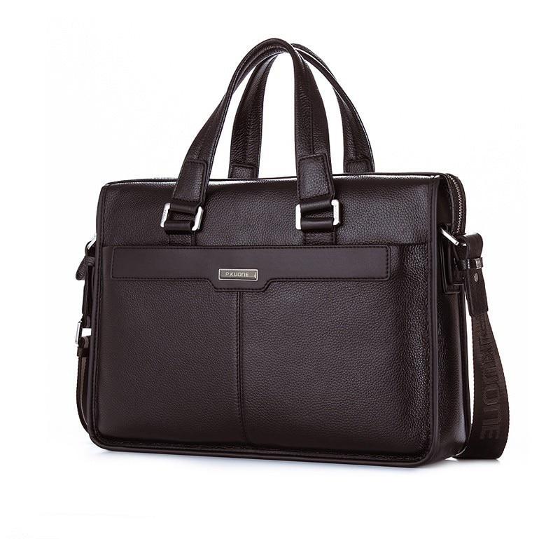 Fashion 100 first layer genuine leather men briefcase messenger bag bussiness men s travel bag 15