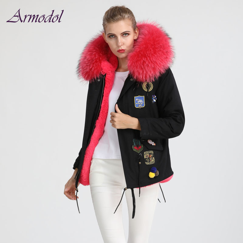 2017 Winter Style Women Sexy Color Fur Jacket Badge decoration Big Collar Black Jacket Parka