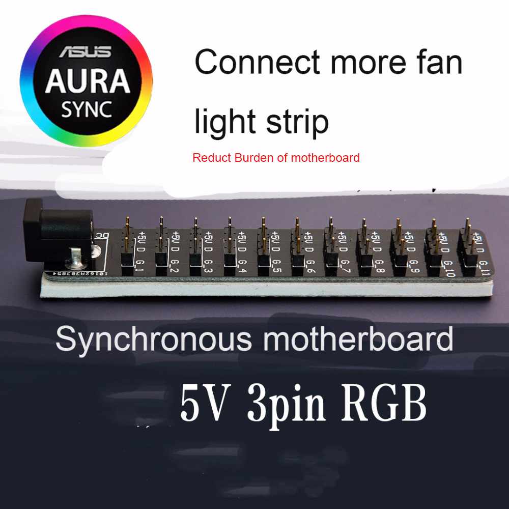 AURA 5V 3 pin RGB HUB connect to ASUS motherboard synchronous light ...