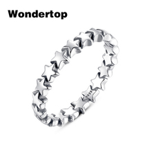 Wondertop Original 100% 925 Sterling Silver Star Trail Stackable Finger Ring For Women Wedding Jewelry Size6-8