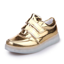 Fashion PU Leather Kid USB Led Shoes Girls And Boys Breathable Hook And Loop Rechargeable Children Light Up Sneaker