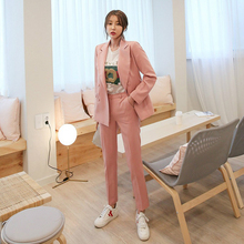 Womens suits 2019 spring new womens British wind double-breasted small suit jacket casual trousers two sets of interview