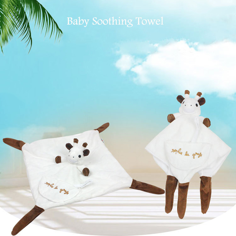 Kawaii White Giraffe Baby Soothing Towels Toys For Newborn Soft Appease Reassure Blankie Towel Education Clam Kids Toys BA005