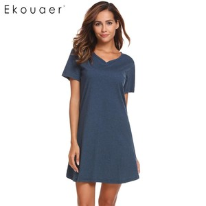 Image 2 - Ekouaerผู้หญิงCasual Nightชุดนอนฝ้ายVคอสั้นแขนSolid Nightgown LoungeหญิงNight Sleeping