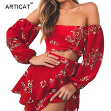 Articat Off Shoulder Sexy Two Piece Summer font b Dress b font Women Slash Neck font