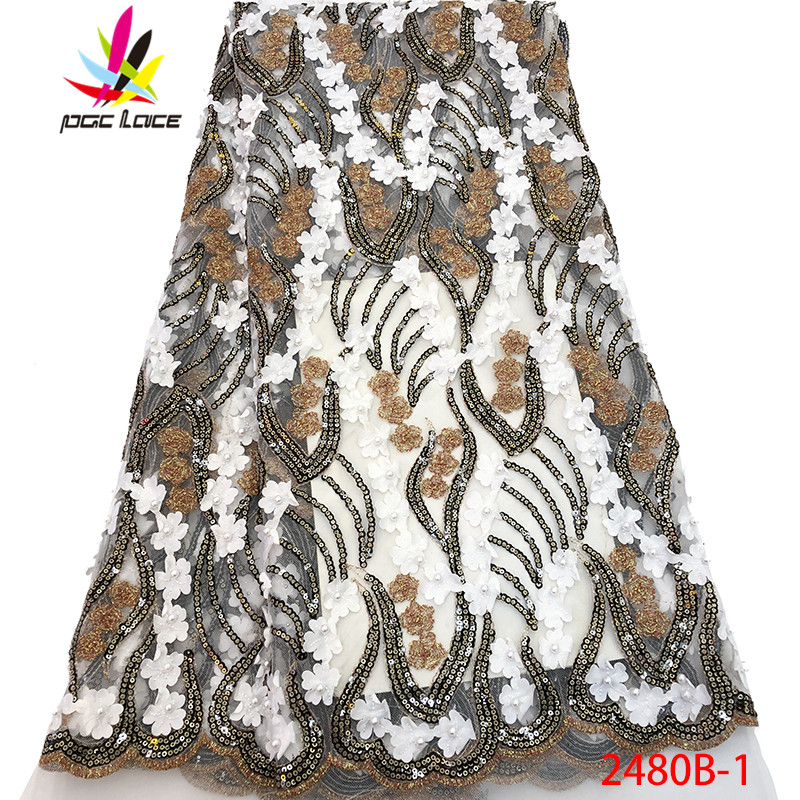 Lace Smart Hot Selling France Embroidered Laces French Net Lace Fabric Stones With Beads African French Lace Fabric For Party Amy2480b-1