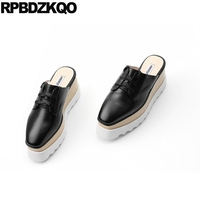 Designer Shoes Women Luxury 2017 High Quality Creepers Real Leather Mules Slip On Square Toe Platform Flats Black Ladies