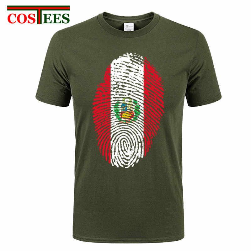 baadcb9e Peru Fingerprint Flag Funny Men T Shirt Fashion Customized Tees fine graphic  Printed tshirt short sleeve