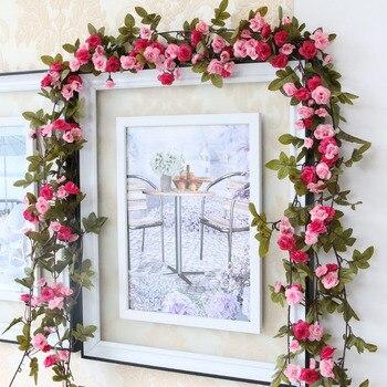 Moda 230 cm dekoracje ślubne sztuczne róże z jedwabiu stroik z bluszczu sztuczne kwiaty z zielonymi liśćmi wiszące Garland do wystroju domu