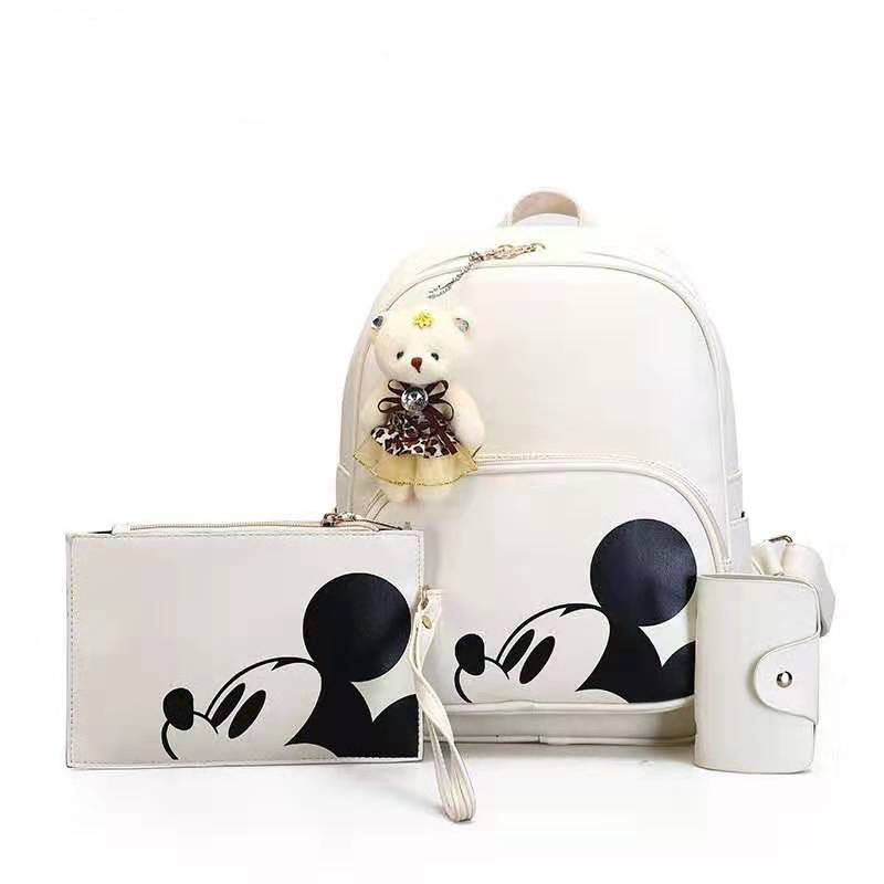 3pcs/set Women Composite Backpack 2019 Pu Leather Mickey Backpack Teenager Girl Boy Travel Backpack School Bag Mochila Feminina