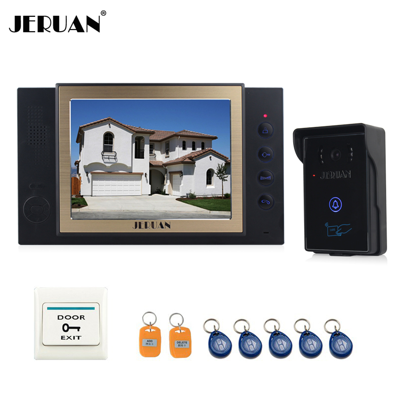 JERUAN 8``  video door phone doorbell intercom system home access control system RFID video recoreding and photo storage 8 inch video door phone doorbell intercom system home access control system rfid video recoreding and photo storage and playback