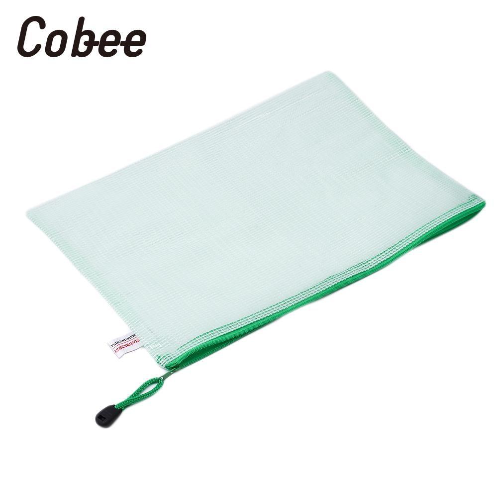 PVC A4 Grid Zipper File Document Holder Pouch Bill Storage Bag Organizer Soft