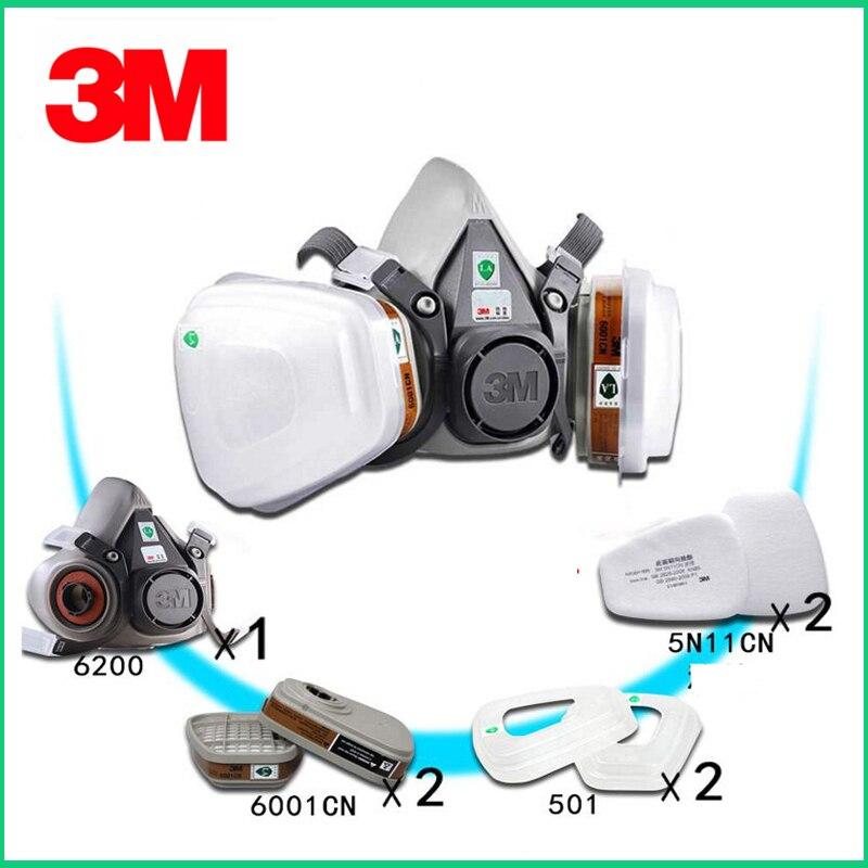 3M 6200 Gas Mask With 6001 Organic Vapor Filter Cartridge Respirator Anti-Fog Haze Pesticide Painting Spraying Face Masks