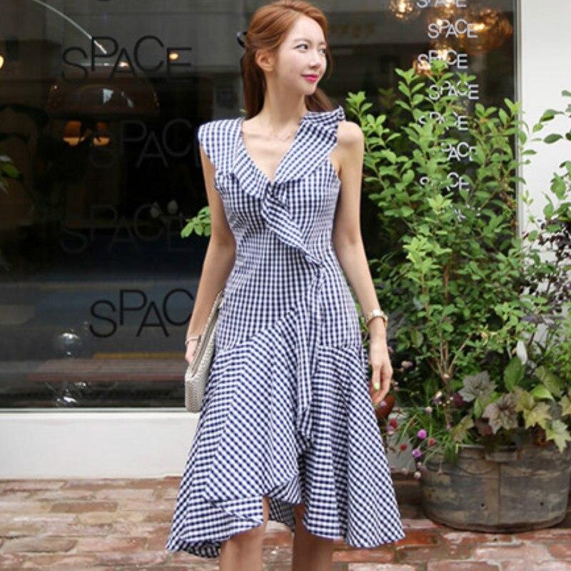 Summer V Neck Vest Cloth Sleeveless Swing Plaid Casual Knee Length Dress