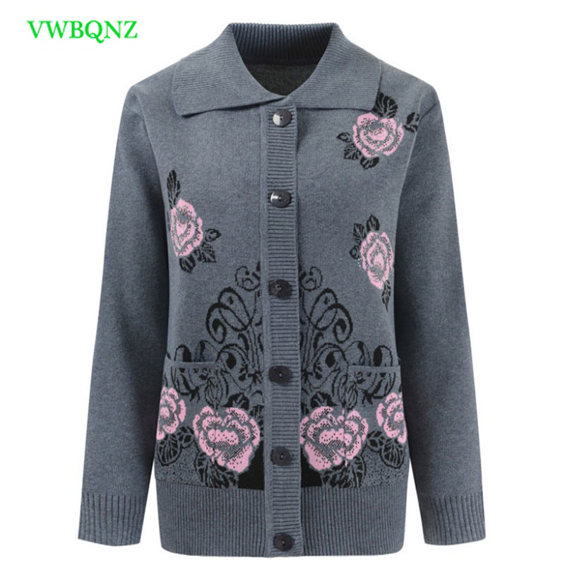 Middle-aged Women Printing Knitted Sweaters Spring Autumn Loose Knit Cardigan Women's Clothing Plus Size Cardigan Sweater 4XL 71