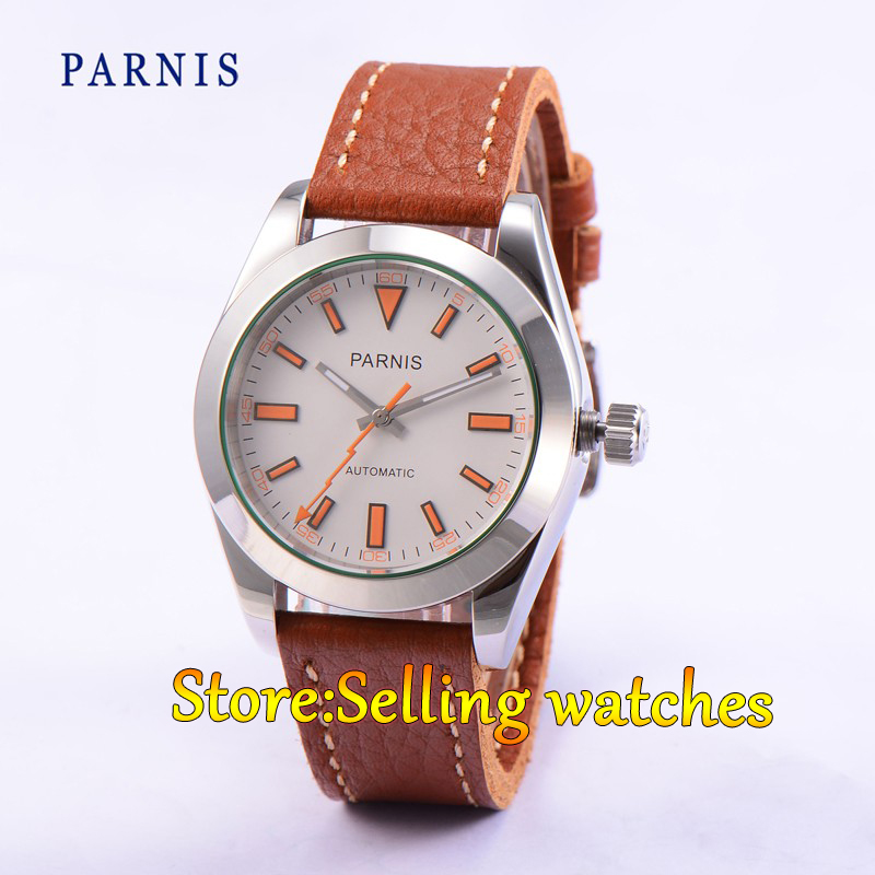 40mm Parnis Casual Sapphire Crystal white Dial Men Automatic MIYOTA Movement Watch 40mm parnis white dial vintage automatic movement mens watch p25