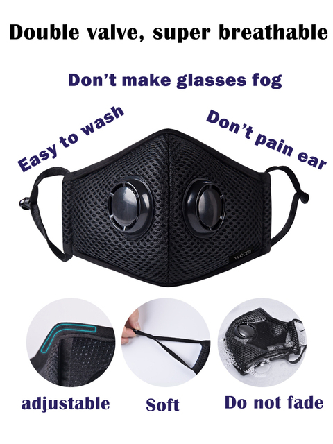Activated Carbon Dustproof Mask, Anti Haze Face Mask Anti Pollen Allergy PM2.5 Dust Mask with Filter Cotton Sheet and Valves 4