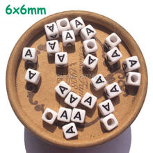 Letter Beads White Acrylic Plastic Cube Square Alphabet Beads 6mm 100pcs A B C D E F G H I J K L M N O P Q R S T U V W X Y Z(China)