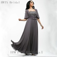 Elegant Gray Plus Size Mother Of The Bride Dresses Flowing Chiffon Short Sleeves A Line Long 2015 Prom Formal Evening Gowns