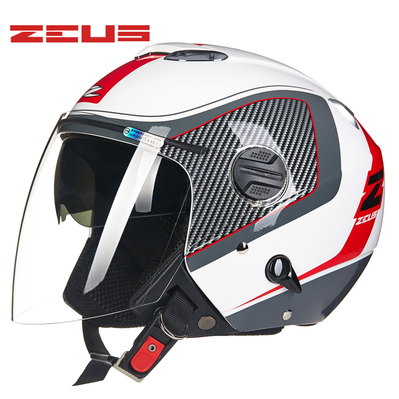 Genuine ZEUS Motorcycle Helmet Double Lens 3/4 Open Face Helmet Warm Bicycle Bike Scooter Four Seasons Moto Motorcycle Helmet universal bike bicycle motorcycle helmet mount accessories