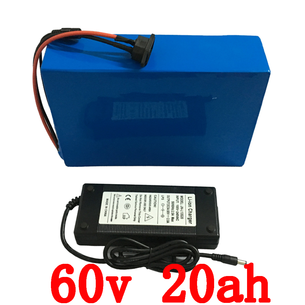 lithium ion ebike battery pack 60V 20Ah 1800W e-bike Battery with 67.2v 2A Charger 30A BMS Lithium Scooter Bicycle Battery 30a 3s polymer lithium battery cell charger protection board pcb 18650 li ion lithium battery charging module 12 8 16v