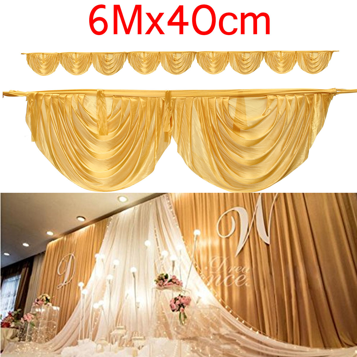 600x40cm Silk Fabric Wedding Backdrops Curtains Swags DIY Wedding Decoration Party Stage Background Cloth Party Favors Gold