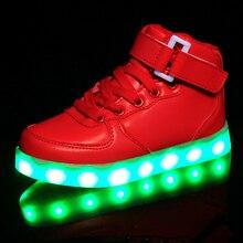 New Kids Light Up Shoes Светодиодные светящиеся Sport Shoes Children USB Зарядки Светящиеся Кроссовки Мальчики Девочки Shoes с огнями Размер 25-37