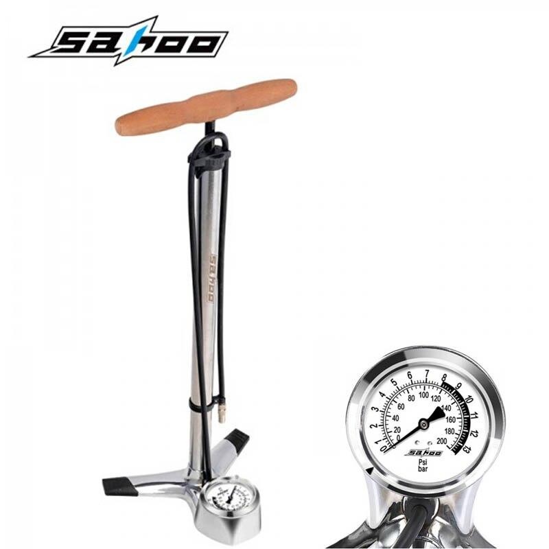 все цены на 2017 SAHOO High Pressure Pump Bicycle Pump Electric Cars Air Pump Cars Air Pump With Wooden Handle Free Shipping онлайн