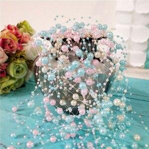 Wedding 5 M DIY Fishing Line Artificial Pearls Beads Chain Garland Team Bride Flowers Bachelorette Wedding Party Decoration.Q(China)