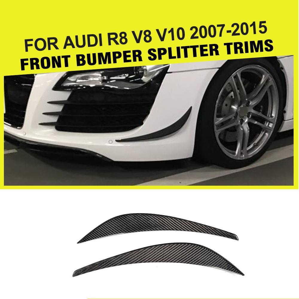 Автомобиль-Стайлинг Carbon Fiber переднего бампера планки украшения плавники спойлер для Audi R8 V8 V10 2008-2015 2 шт. автомобиля Стикеры