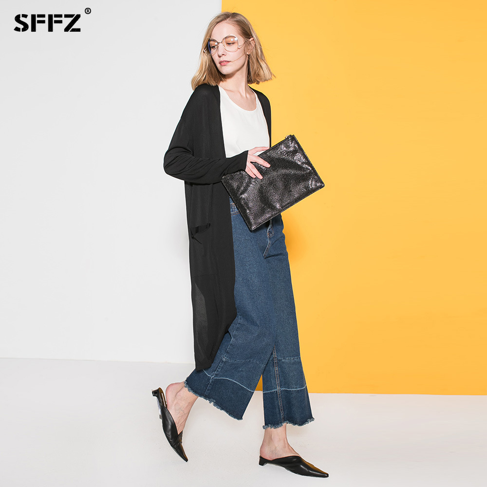 SFFZ New Women Knitted Sweaters Cardigans with Poxkets Comfortable Loose Casual Split Design Woman Open Stitch Long Thin Coat