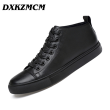 DXKZMCM Handmade Genuine Leather Men Casual Shoes, Fashion Designer Warm Casual Men Leather Flats Shoes,