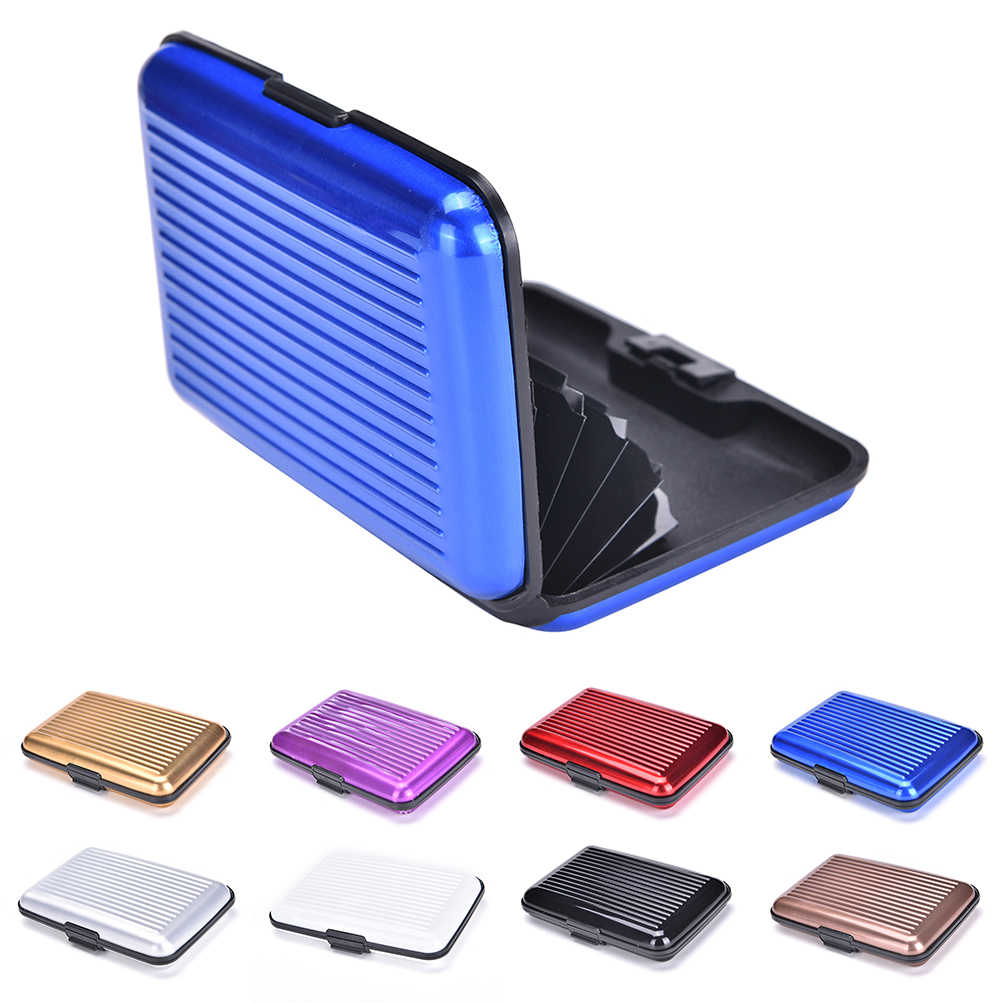 8 Color Travel Card Wallet Aluminum Business Case Shiny Metal Cardholder Box hot saleMen Women Waterproof Credit Card ID Holder