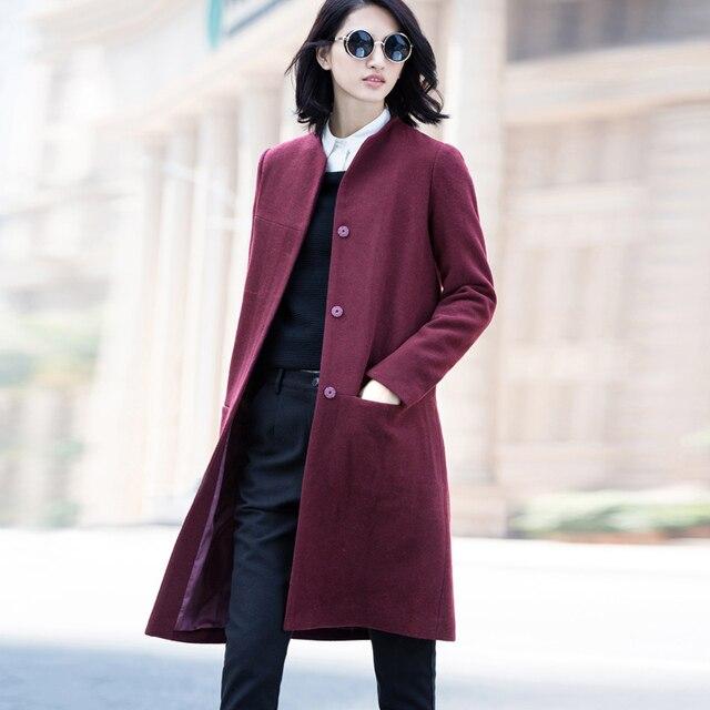Amii Casual mujer abrigo de lana de invierno de 2018 sólido botón cubierto O cuello mujer mezclas de lana