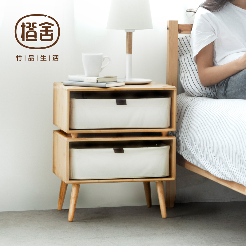ZEN'S BAMBOO BedSide Table Nightstand With 2 Drawers Bay Window Small Table Bedroom Furniture