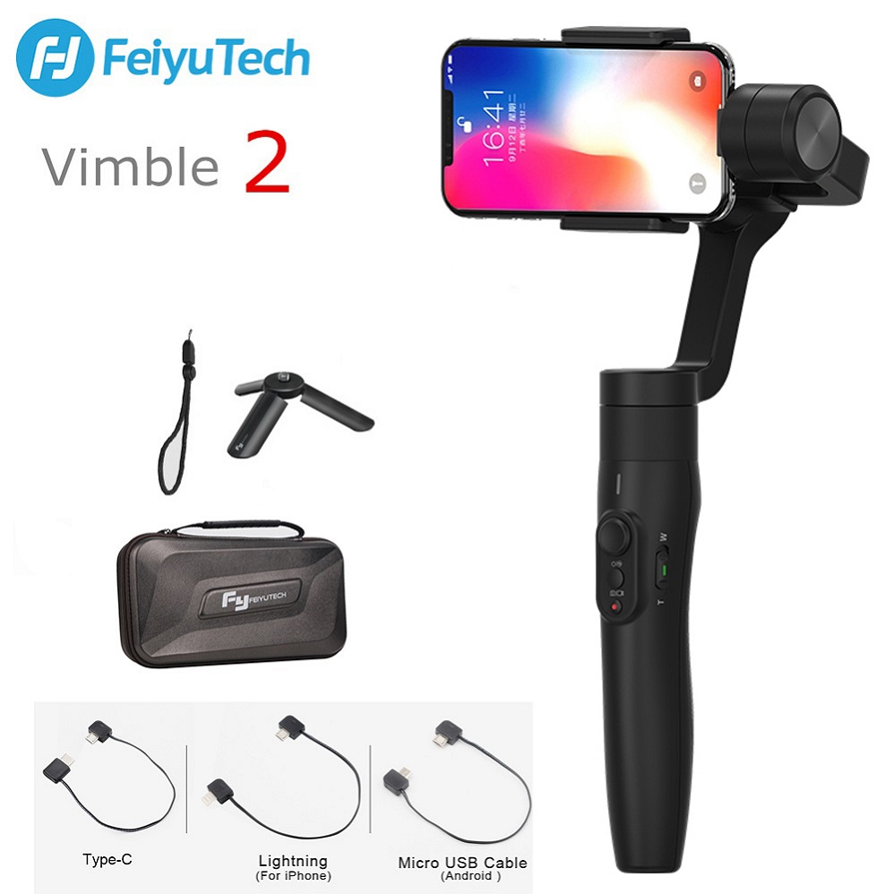 FeiyuTech Feiyu Vimble 2 3-Axis Handheld Smartphone Gimbal Stabilizer PK Zhiyun Smooth 4 183mm Pole Tripod for iPhone X 8 S9 S8 feiyu vimble c 3 axis handheld gimbal portable smartphone stabilizer for i phone 6 7 vertical shooting pk zhiyun smooth q