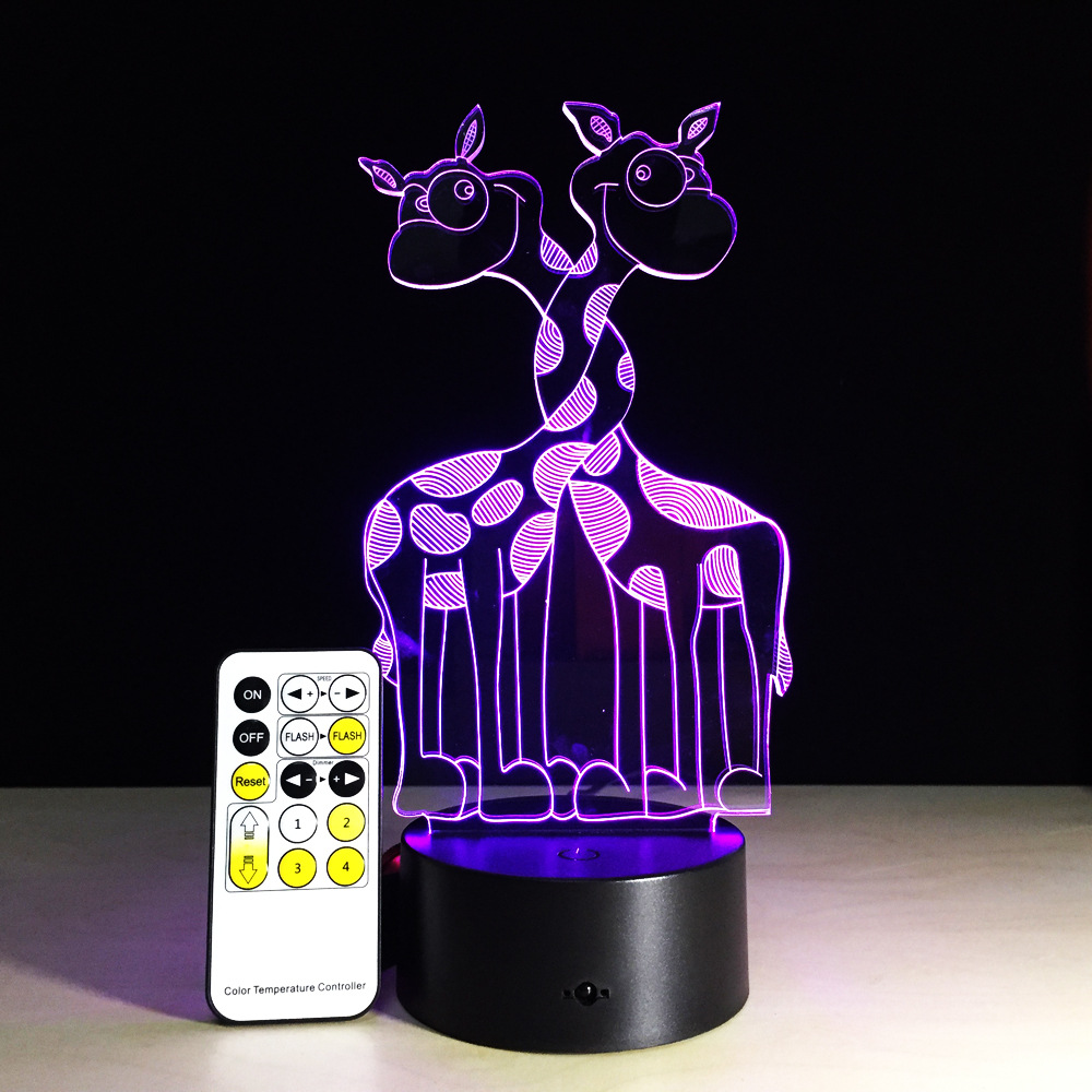 Creative Cute Animal Giraffe 3D LED Visual Night Light Colorful Remote or Touch Table Lamp Christmas Birthday Party Decor Gift