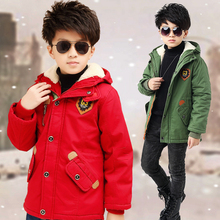 boys winter jacket down cotton padded plush down jacket for kid boy hooded thicken warm outerwear coat thermal children clothing