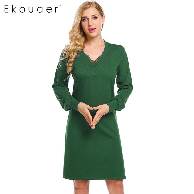 Ekouaer Nightdress Women Long Sleeve Sleep Dress V-Neck Lace-Trimmed Thick  Loose Sleepwear Nightgown Female Nighties Dress Gown 993ece9ec3