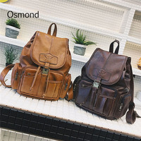 Osmond Vintage Women Backpack for Teenage Girls School Bags Large Drawstring Backpacks High Quality PU Leather Black Brown Bag