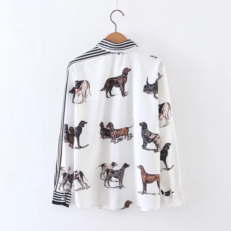 VOGUEIN New Womens Striped Animal Dogs Print Long Sleeve Blouse Shirts Tops Wholesale