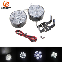 POSSBAY 2 Pcs 6 9 18 LED White Daytime Running Light DRL Car Fog Light Driving