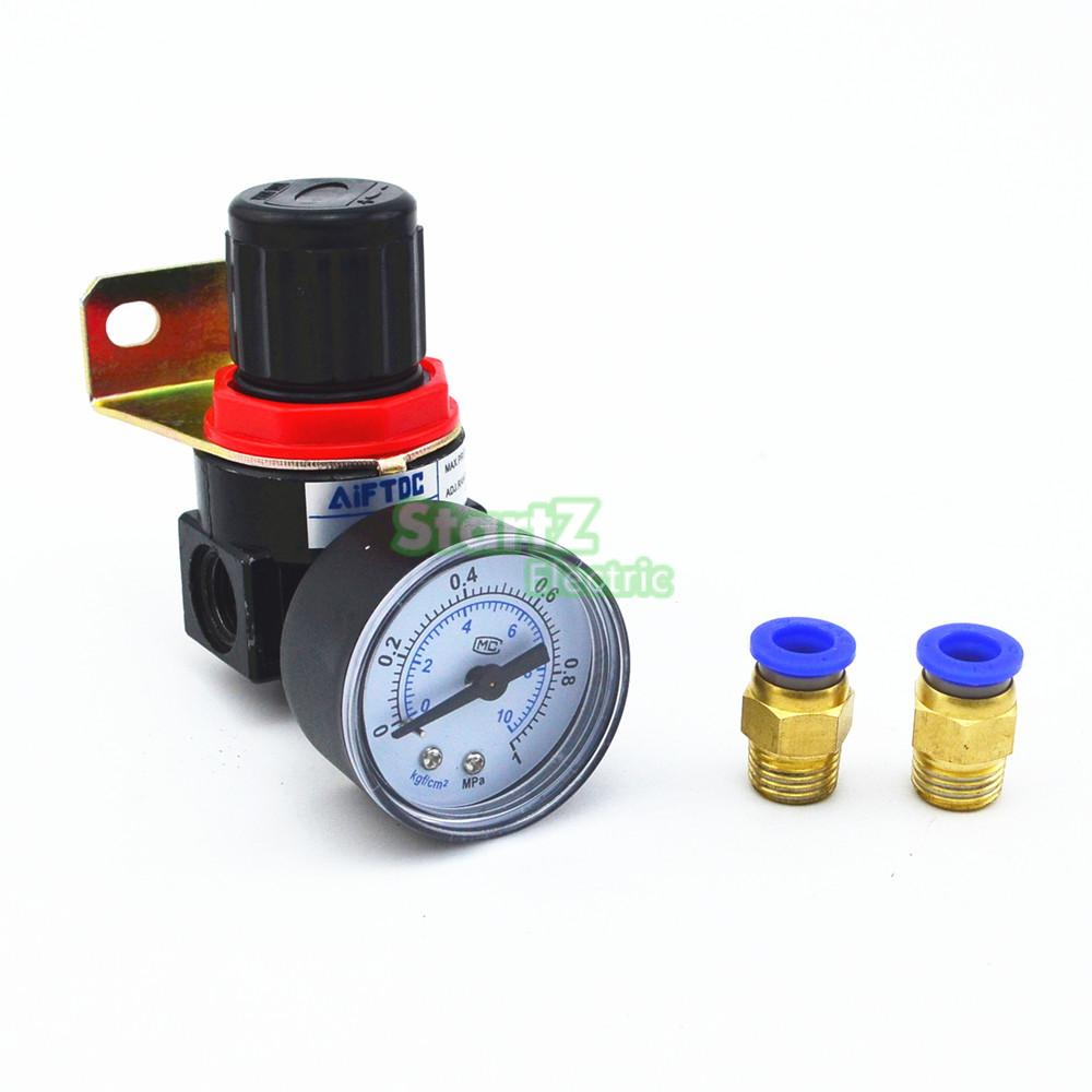Compressor Air Control Pressure Gauge Relief Regulating Regulator Valve with 10mm Hose Fittings