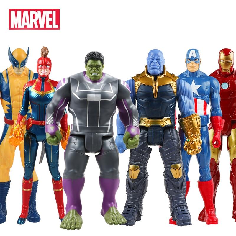 30cm Marvel Avengers Endgame Thanos Spiderman Hulk Buster Iron Man Captain America Thor Wolverine Action Figure Toy For Boy Gift
